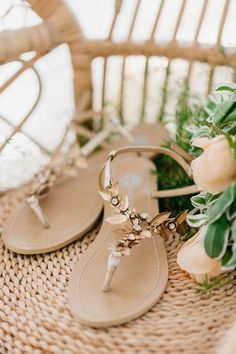 899ee9579 Bohemian and Grecian inspired with gold flower brass for no-frills brides.  Outdoor wedding sandals for brides and date nights. Greecian Gold Wedding  Sandals ...