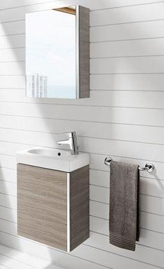 """Meuble de salle de bains petit mais malin    Photo : Roca    Meuble avec lavabo """"Mini"""" en aggloméré, revêtement mélaminé ou laqué de faible profondeur 57,5 x 45 x P25 cm. 321,70 euros. Roca."""