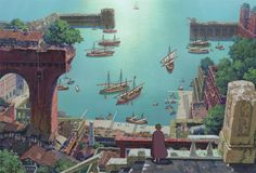 It's interesting to discover that Tales From Earthsea, the latest Studio Ghibli title to be distributed by Disney, was originally released in Especially since it seems like in four years, someone could have found a way to make its story a little m Hayao Miyazaki, Studio Ghibli Films, Nausicaa, Tales From Earthsea, Fantasy City, Castle In The Sky, Howls Moving Castle, Environment Concept, Matte Painting