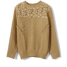 Chicwish Crochet Floral Light Tan Sweater ($48) ❤ liked on Polyvore featuring tops, sweaters, brown, floral crochet top, brown tops, ribbed sweater, floral print sweater and crochet pullover