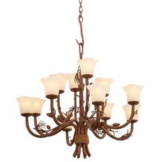Kalco Ponderosa 8 Light Shaded Chandelier Shade Type: Iridescent Shell - NS14 Natural