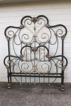 Iron and brass bed frame Wrought Iron Headboard, Metal Headboards, Antique Headboard, Bed Headboards, Antique Iron Beds, Cast Iron Beds, Brass Bed, Vintage Iron, Metal Beds