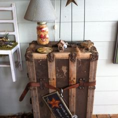 Old trunk as table.