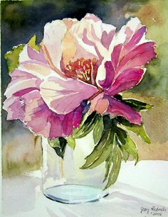 Watercolor Peony by Georg Hedrich Watercolor Cards, Watercolour Painting, Watercolor Flowers, Painting & Drawing, Watercolors, Watercolor Portraits, Watercolor Landscape, Watercolor Illustration, Watercolor Tattoo