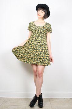 Vintage 90s Dress Babydoll Dress Mini Dress by ShopTwitchVintage #vintage #etsy #1990s #90s #grunge #babydoll #sunflower #dress #floral