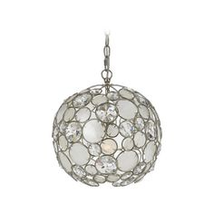 Crystorama Lighting Crystal Pendant Light in Antique Sliver Finish | 527-SA | Destination Lighting