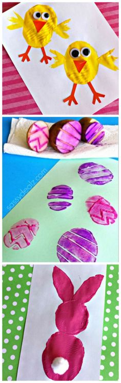Potato Stamping Craft Ideas (Chick, Easter Eggs, Bunny) Cute #Easter crafts for kids + tons more!