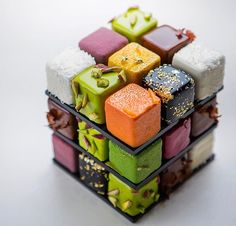 """culturenlifestyle: """"Geometric French Pastries in The Form of Colorful Rubik's Cube Cédric Grolet, chef pâtissier at Le Meurice in Paris found a way out to make Rubik's Cube edible and the puzzle has never been more fun than this! Food Design, Cedric Grolet Patisserie, Geometric Cake, Cake Craft, Beautiful Desserts, French Pastries, Pastry Cake, Food Plating, Amazing Cakes"""