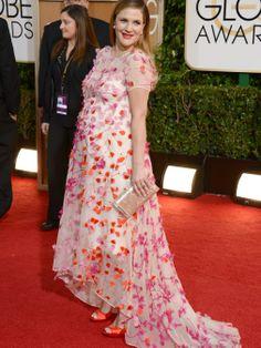 Una embarazadísima Drew Barrymore en la alfombra roja de los Globos de Oro 2014