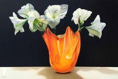 Paolo Brugiolo artista contemporaneo - natura morta vaso arancione - olio su tela