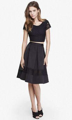 Lace Inset High Waist Full Midi Skirt | Express