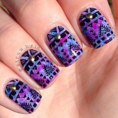 Close up of latest mani. For products used see previous post. Beautiful Nail Art, Gorgeous Nails, Love Nails, Fun Nails, Pretty Nails, Different Nail Designs, Cute Nail Designs, Tribal Nails, Healthy Nails