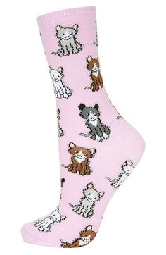 Topshop Mixed Kittens Print Socks available at #Nordstrom