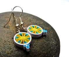 Small Earrings - Eco-friendly, quilled paper, Mandala