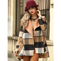 Plaid Anti-Collar Woolen Coat ($64) ❤ liked on Polyvore featuring outerwear, coats, brown coat, brown wool coat, wool coat and woolen coat