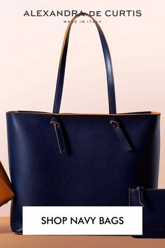 It's official, one of the most popular colours this season is the unfailingly chic navy blue. Shop our blue bags and get 10% off on your first order by subscribing here: www.alexandradecurtis.com/join Italian Leather Handbags, Designer Leather Handbags, Navy Blue Handbags, Designer Shoulder Bags, How To Make Handbags, Classic Leather, Blue Bags, Join, Colours