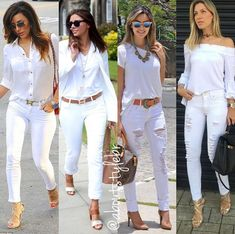 All white ladies Black And White Outfit, White Outfits For Women, White Pants Outfit, White Casual, Clothes For Women, Casual White Jeans Outfit Summer, Blue Jean Outfits, Classy Outfits, Chic Outfits