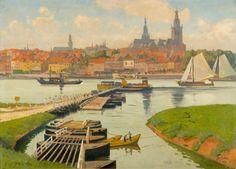 Gezicht op Nijmegen vanaf Lent - Eugène Lücker 1933