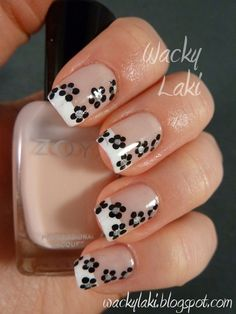 Dotted flower nails by Wacky Laki - Click image to find more Hair & Beauty Pinterest pins