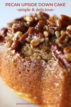 Even better than a pecan bar, this Pecan Upside Down Cake starts with an amazing buttery and sweet pecan mixture in your bundt pan.  Top with a jazzed up cake mix and bake to perfection.  Turn out of the pan and you get the most fun and delicious bundt cake on the planet.  This Pecan Upside Down Cake is an easy and tasty treat. #practicallyhomemade #pecanupsidedowncake #upsidedowncake #pecancake #bundtcake #pecandessert #pecanbundtcake #pecans #cakemix Bunt Cakes, Easy Desserts, Holiday Desserts, Holiday Cakes, Pecan Desserts, Pecan Pies, Homemade Desserts, Desserts With Pecans, Cake Mix Cobbler