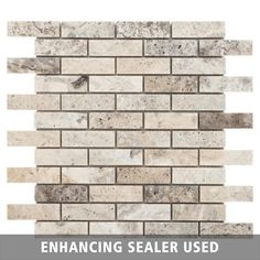 Argento Brushed Brick Travertine Mosaic - 12in. x 12in. - 932100681 | Floor and Decor