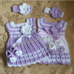 Newborn twins crochet outfit baby girl clothes dress headband and booties crochet set baby twins shower gift infant clothes gift