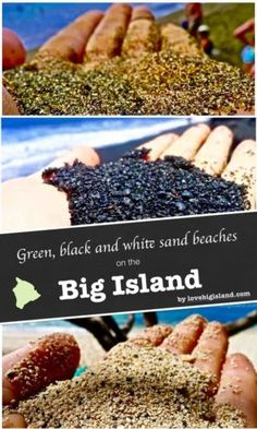 3 hottest Big Island beaches! Our favorite green sand, black sand, and white sand beaches on the island of Hawai'i are: Papakolea (green sand), Punalu'u (black sand), and Hapuna (white sand).