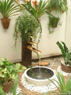 fantastic garden waterfall for small garden ideas you will love it 4 Outdoor Planters, Diy Planters, Outdoor Gardens, Planter Ideas, Garden Planters, Water Features In The Garden, Garden Fountains, Small Fountains, Front Yard Landscaping
