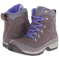 The North Face Chillkat Nylon (Plum Kitten Grey/Blue Iris) Women's... ($100) ❤ liked on Polyvore featuring shoes, boots, gray lace up boots, lacing hiking boots, waterproof shoes, blue boots and shearling-lined boots