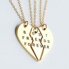 Lux Accessories Goldtone BESTBUDS Metallic Maquise Cut Heart Friendship Necklace