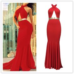 Cheap Sexy Crossed Halter Neck Sleeveless Front Open-work Red Polyester Mermaid Trailing Evening Dress