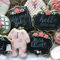 """50 Likes, 3 Comments - Sweet Traditions (@nancyssweettraditions) on Instagram: """"Congratulations Kirbie and Clay! Baby shower set to welcome Miss Elliott #handpainted #chalkboard…"""" baby chalkboard flowers"""