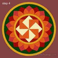 This page provides Pookalam Rangoli Designs with title Onam Pookalam Rangoli 3 for Onam festivities. These Rangoli designs are prepared with flowers for which it is known as Pookalam.