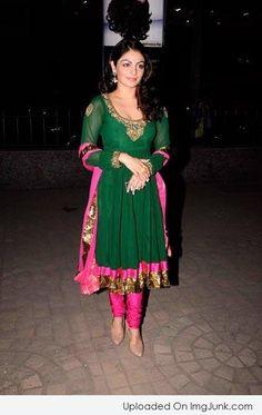 Actor n TV Host Neeru Bajwa in vibrant Churidar Suit, via @topupyourtrip