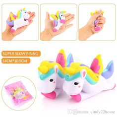 New Kawaii Unicorn Squishy Slow Rising Retail Packaging Cute Phone Straps Pendant Cake Cream Scented Kids Toy Gift - Hot Products Diy Unicorn Cake, Unicorn Gifts, Cute Unicorn, Toy Unicorn, Horse Cartoon, Cute Squishies, Doll Toys, Dolls, Toy Sale