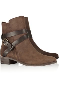 See by Chloé|Buckled suede ankle boots|NET-A-PORTER.COM