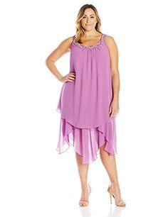 NEW S.L. Fashions Women's Plus-Size Embelishe Trim Uneven Hem Tunic Dress