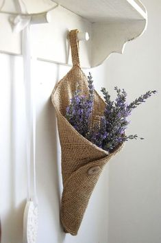 burlap tussie mussie with lavender Burlap Projects, Burlap Crafts, Diy And Crafts, Sewing Projects, Arts And Crafts, Lavender Crafts, Lavender Bags, Lavender Cottage, Burlap Bags