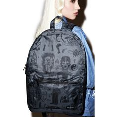 Rebel8 Giant Flash Graphics Backpack ($54) ❤ liked on Polyvore featuring bags, backpacks, blue canvas backpack, canvas knapsack, knapsack bag, double zip bag and canvas daypack