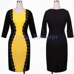 Fashion-Women-Black-Floral-Lace-Slim-Colorblock-Party-Cocktail-Pencil-Dress-N748