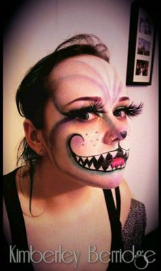 https://www.facebook.com/KimberleyBerridgeMakeupArt  Cheshire Cat Make-up Halloween Make-up Massive Lashes! Alice in Wonderland
