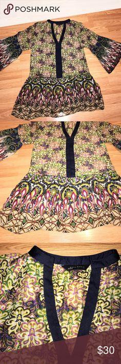 Zara basic  top 70% cotton.    30% silk. Light weight very fresh Zara top Zara Tops Tunics