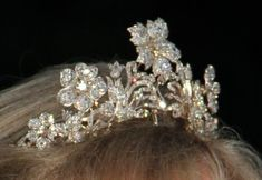 A lovely close up of the diamond floral tiara worn by Princess Marie Louise of Prussia, later Schonburg-Glauchau
