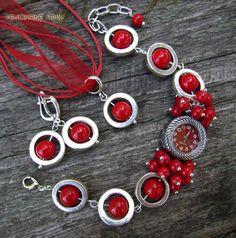 """Купить """"Геометрия"""" комплект (часы, серьги, кулон) с кораллом - комплект, набор, красный, красный комплект"""