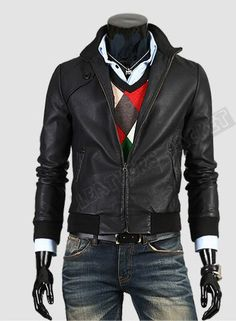 Handmade men slim black leather jacket, men front pocket shoulder tab Black leather jacket with rib at sleeves. Only $129.99
