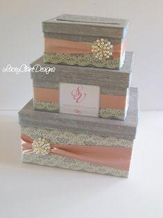 Items similar to Wedding Gift Box, Card Box, Money Holder - Custom Made on Etsy Purple Mason Jars, Wedding Gift Boxes, Wedding Card, Wedding Stuff, Money Holders, Unity Candle, Wedding Games, Different Light, Ribbon Colors