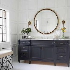 Navy Footed Washstand with Gold Pulls