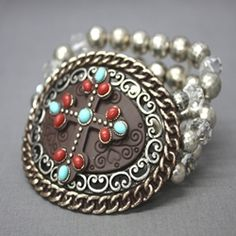 Iron Stone Cross Bracelet By Anna C
