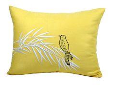 Lumbar Throw Pillow Cover, Bird Pillow Case, Yellow Linen Brown Bird embroidery…