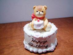 Enesco Lucy Rigg Bear Music Box Figurine - Happy Birthday Cake - 1984 Lucy and Me